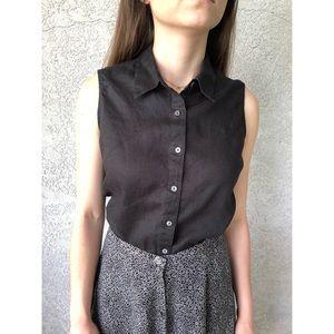 VINTAGE : Pure linen true black sleeveless blouse